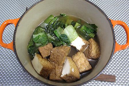 ミレー、かつお菜と厚揚げの煮物